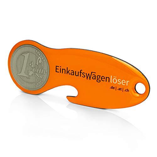 Code24 Einkaufswagenlöser Münze, Profiltiefenmesser, Schlüsselanhänger mit Einkaufschip & Schlüsselfinder, inkl. Registriercode für Schlüsselfundservice, Einkaufswagenchips, Key-Finder, orange