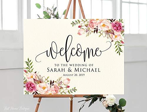 Bair89Pulla Welcome Wedding Sign Ivory Welcome to Our Wedding Sign Blush Hochzeit Horizontal Querformat Hochzeitsschild Blush Pink