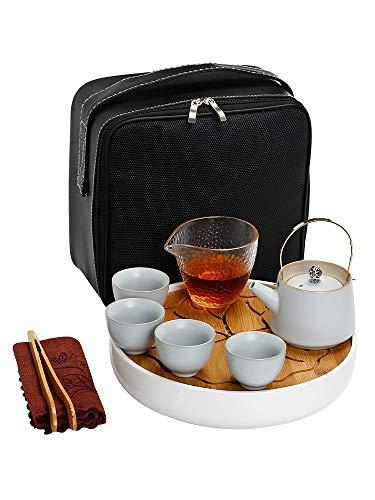 Novela Hervidor de cerámica Tetera de cerámica Conjunto de tetera de viaje Kung Fu Conjunto de té al aire libre Portátil Taza rápida One Pot Four Cup Hogar Tea Bandeja Tetera Taza de té Estilo japonés
