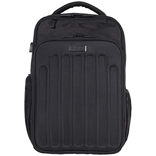 "Kenneth Cole Reaction 1680d Polyester Dual Compartment 15.6"" Laptop Backpack with USB Port (RFID), Black"