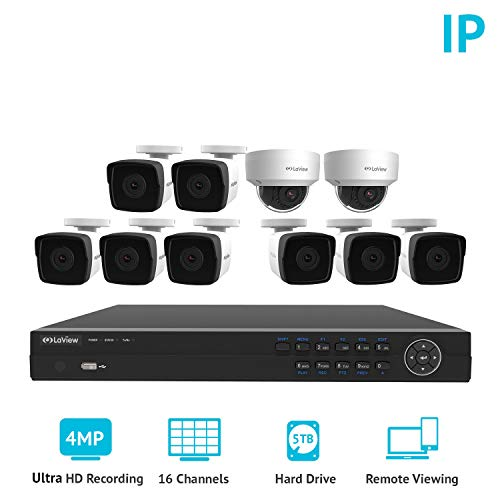 LaView 4-Megapixel (2688 x 1520) 16 Channel PoE 4K NVR HDMI - 10 Camera Security Camera System, 8 4MP Bullet & 2 4MP Dome IP Surveillance Cameras, 100ft Night Vision, Pre-Installed 5TB Hard Drive