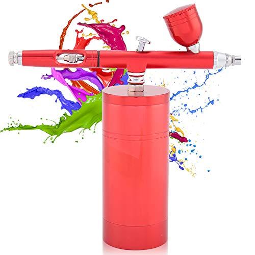 Luchtcompressor Spuitpistoolspuitset, multifunctionele airbrush Luchtcompressorkit Dual Action 0,3 mm mondstuk 7CC Capaciteit verfspuitpistoolset Draagbare luchtborstelset