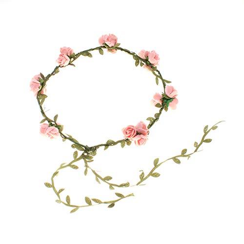 Kaned Braut Kranz Stirnband Hochzeit Blumen Foto Prop Frauen Brauthaar Kopfbedeckung,Rosa