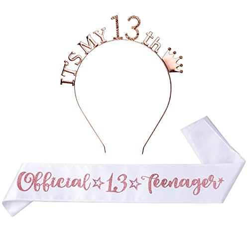 BHGT 13. Geburtstagsschärpe und Krone Official 13 Teenager Schärpe für Mädchen 13. Geburtstagsgeschenke 13 Haarreif Stirnband für Alles Gute zum 13. Geburtstagsgeschenk Geburtstag Deko Accessoires