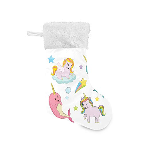 Jieaiuoo Christmas Stocking Hanging Decoration,Rainbow Colored Unicorns of The Land and Ocean Girly Illustration Colorful Cartoon,Christmas Holiday Ornaments Home Decor Toys Candy Gift Bag