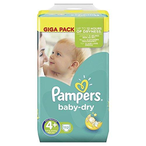 Pampers Baby Dry Größe 4+ Maxi 9-20 kg Giga Pack, 2er Pack (2 x 112 Windeln)