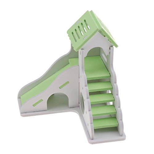 Hamsterhaus Nagerhaus Kleintierhaus mit Treppen und Rutsche für Hamster Maus Meerschweinchen Igel - Grün