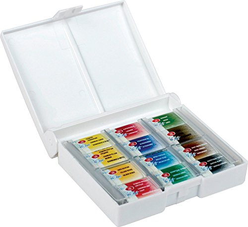 White Night Artists Watercolour Set 12 Whole Pans, Plastic Box