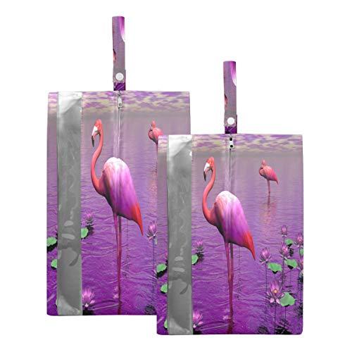 Mnsruu Hermosa bolsa organizadora de zapatos con diseño de flamenco, color rosa, para hombre y mujer, 2 piezas (tamaño estándar: 23 x 38 cm, tamaño XL: 23 x 43 cm)