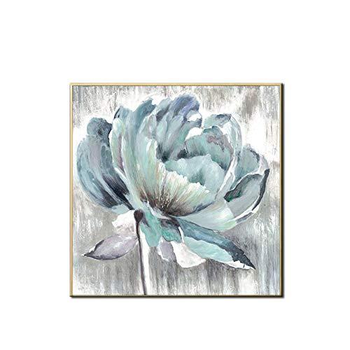 Handgemalte Ölgemälde Acryl Blue Flower Wandkunst Bild Wohnzimmer Dekoration auf Leinwand 60cmx80cm
