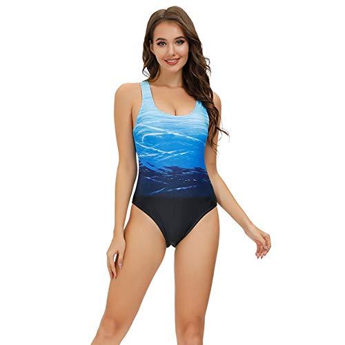 Bañadores de Mujer Traje de una Pieza con Relleno Bañador Push up Ropa de Baño Cintura Alta Size Gradiente de Color Cruz Atrás Slim Fit Cuerpo Atractivo Bañera Bikini (Blue, 2XL(14-16))