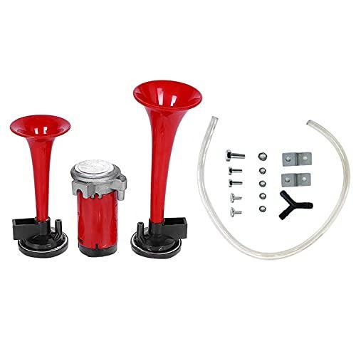 QiKun-Home 110db Super Loud Car Air Horn Set 12V Kit de bocina de vehículo de Doble Trompeta con Bomba de compresor Accesorios duraderos para el automóvil Rojo