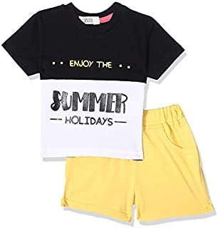 Giggles Two-Tone Letter-Print T-shirt with Drawstring Elastic Waist Shorts Pajama Set for Boys
