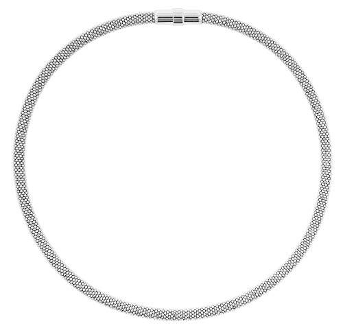 trendor Damen-Collier Silber 925 Glitzer Schlauchkette hochwertige Halskette aus Sterlingsilber für Damen, zauberhafter Halsschmuck, tolle Geschenkidee, 75775