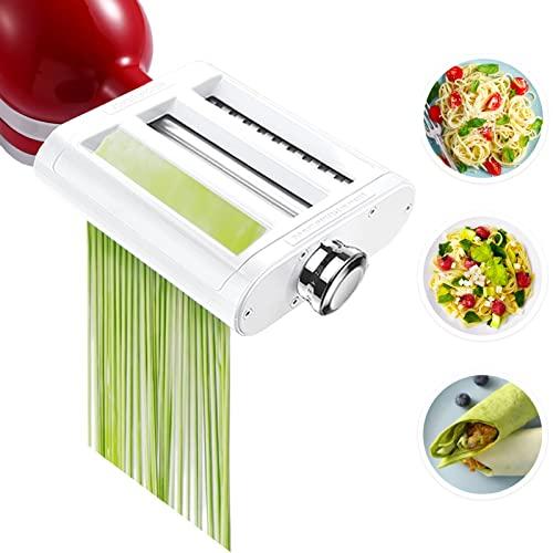 Jovan Home - Juego de accesorios para utensilios de cocina 3 en 1, incluye cortador de espaguetis y cortador de fettuccine, accesorio de pasta para KitchenAid y cepillo de limpieza