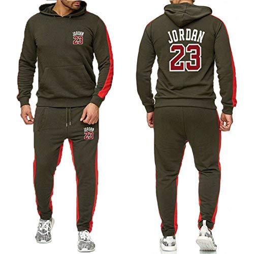 ZGRW 23# Jordan Baloncesto Uniforme De Chándal, Sudaderas Supportral Pendientes Sports Rousers Sports Traje Conjuntos Joggers Pantalones, Cómodo Traje Casual Green-XXXL