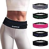 GEARWEAR Running Belt Workout Waist Bag Pack for iPhone 7 X 8 6 Plus Man Woman/Lightweight Phone Runners Belt for Walking Fitness Jogging Climbing/Zipper Travel Money Belt Black