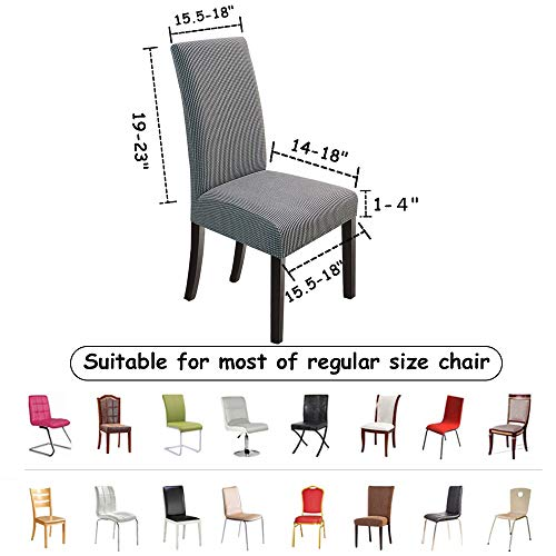 NORTHERN BROTHERS Dining Chair Covers Stretch Chair Covers Parsons Chair Slipcover Chair Covers for Dining Room Set of 6,Light Grey