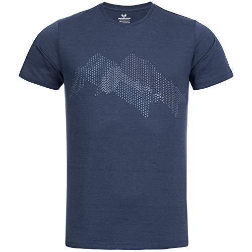 Woolday I Merinopower I Merino Herren T-Shirt Rundhals aus Reiner, Ultra-feiner Merinowolle mit Aufdruck I Stoff gefertigt in DE, genäht in Portugal I Navy Blau I S