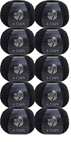 Lana Grossa 4 Capi - Gomitolo di lana da 500 g, colore 10 nero, confezione da 10 x 50 g, per lavorare a maglia o all'uncinetto