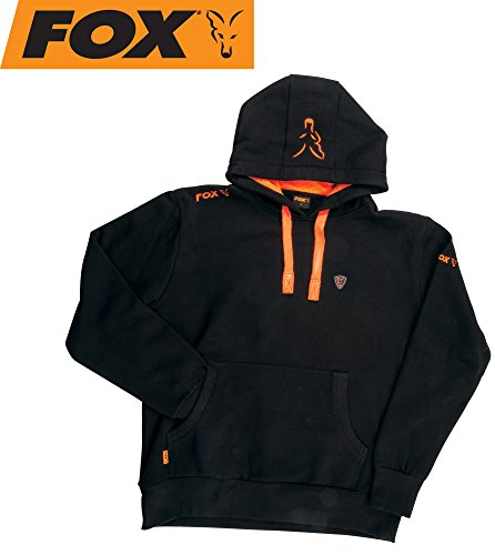 FOX Black/Orange Hoodie Kapuzenpullover, Pullover mit Kapuze, Angelpullover, Anglerpullover schwarz/orange, Größe:XL