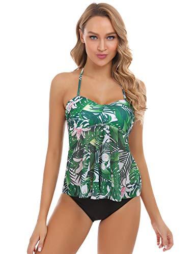 Abollria Tankini Mujer Traje de Baño en Dos Piezas Bañador Halter Tankini Vest + Short de Baño Traje Sexy Ropa de Baño Conjunto de Swimsuit de Encaje Push Up Beachwear Correa de Hombro Extraíble