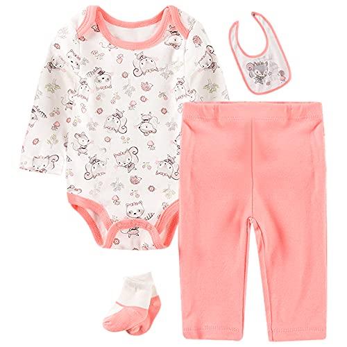 amropi Conjunto de Ropa Bebés Niñas Body + Pantalones + Babero + Calcetines Animal Impresión Trajes 4 Piezas Blanco Rosa,0-3 Meses
