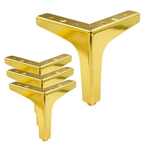 Cyful - Juego de 4 patas de metal para muebles, 13 cm de altura, modernas, para armarios, sofás, sillas, otomanas (doradas)
