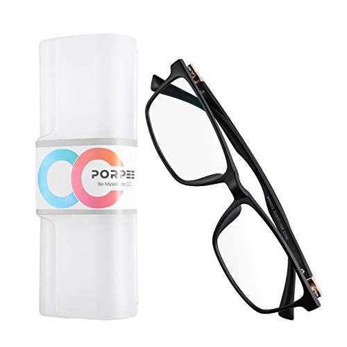PORPEE Gafas Ordenador Luz Azul, Gafas Filtro Luz Azul con Lente de Película Verde, Gafas Lectura Reduce Fatiga - 100% Protección UV/Radiacion -Marco Ultraligera de Moda Unisexo