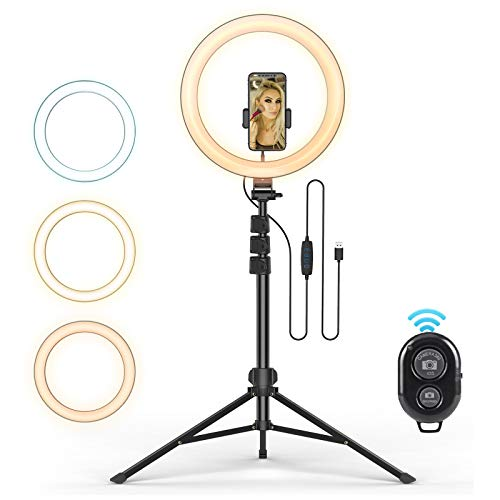 """12"""" Selfie Ring Light with Tripod Stand and Phone Holder, Luoful Dimmable LED Camera Ring Light 3 Color Modes for Makeup/Photography/YouTube/TikTok/Live Stream Compatible with iPhone & Android"""