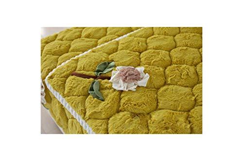 N/A Winter Style verdicken Plüsch Sofa Handtuch Rutschhemmende Ecksofa Mat Feste Couch Kissenbezug warmes Handtuch, Gelb, 110x160 1 Stück