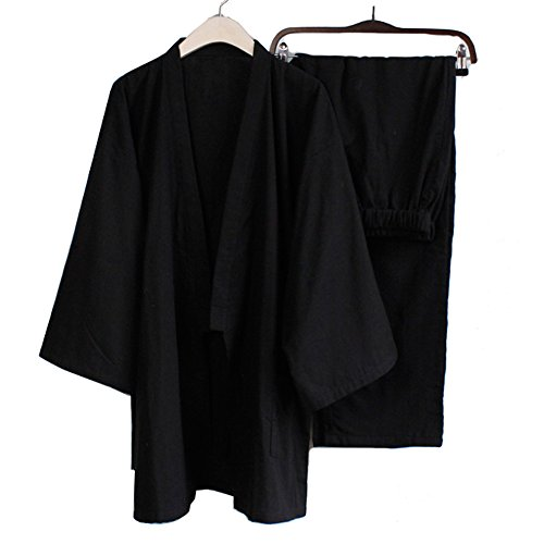 Trajes de estilo japonés de los hombres de algodón puro kimono pijama vestido de vestir Set- # 01