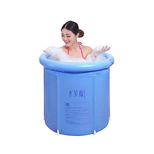 GNEGNIS Tragbare aufblasbare Badewanne, faltender Badewannen-Sauna-Dampf-Badewannen-erwachsener Bad-Eimer PVC-BADEKURORT groß - 29,5 Zoll-Blau