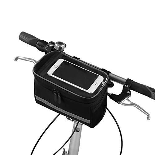POBI Touchscreen-Handytasche wasserdichte Oberrohrtasche Reitausrüstung Touch Mountainbike Frontstrahl Tasche Reiten Lenkertasche (Color : Black, Size : 23 * 14 * 17.5cm)