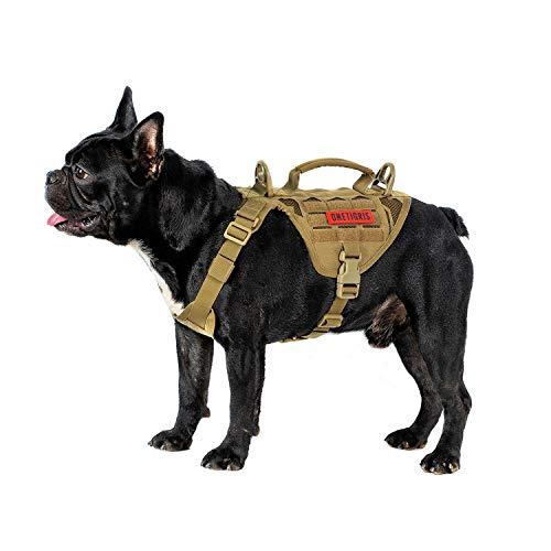 OneTigris MOLLE Taktisches Welpengeschirr Einstellbar Weich Geschirr für Kleine Hunde Welpen Jagd/Wandern/Trainierung/Spaziergang Outdoor-Aktivitäten |MEHRWEG Verpackung (Coyote Braun, XS)