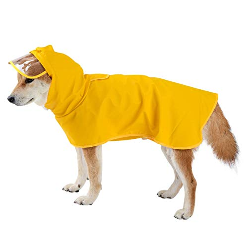 Yellow Dog Raincoat Pet Waterproof Jacket with Hood & Collar Hole Transparent Brim - Ultra-Light Breathable Adjustable Dog Poncho Rain Jacket for Small Medium Dog - Easy to Put On and Clean