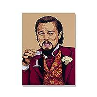 JLFDHR 赤ワインのポスターとプリントを飲むおかしい男抽象的なキャンバス壁アート写真リビングルームの家の装飾-50X70Cmx1フレームなし