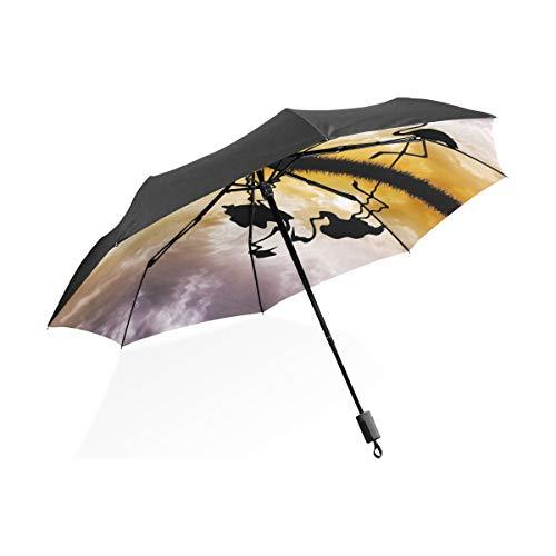 LUPINZ Flamingos Love Silhouetten Regenschirm für Sonne/Regen/Outdoor UV-Schutz