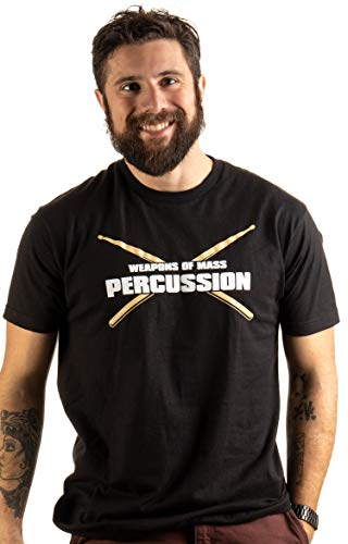 Product Image 2: Weapons of Mass Percussion | Funny Drum Drummer Music Band Men Women T-Shirt-(Adult,L) Black