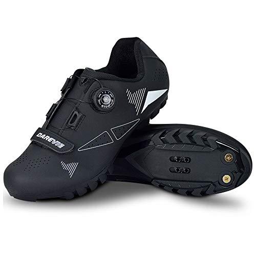 JINFAN Zapatillas de Ciclismo MTB para Hombre,Zapatillas de Ciclismo de Montaña con Candados,Calzado Deportivo de Invierno para Hombre y Mujer,Black-9.5UK=44EU=10.5US
