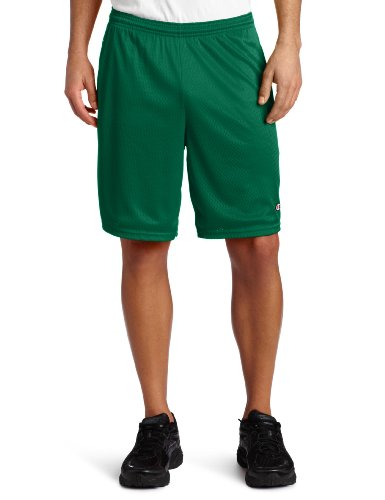 Champion Men's Long Mesh Short With Pockets, Varsity Green, X-Large