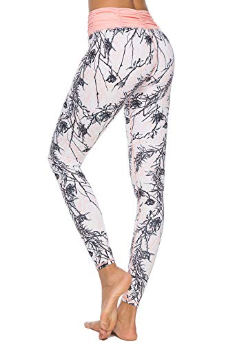 Mint Lilac Women's High Waist Printed Workout Yoga Leggings Athletic Tummy Control Casual Pants with Ruched Waistband Peach Small