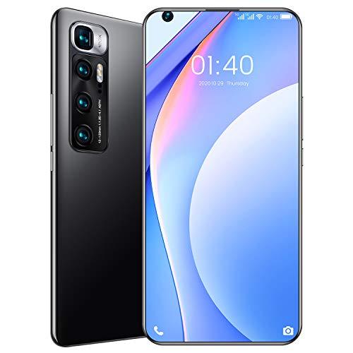 M10 Ultra Smartphone ohne Vertrag Android 10, 7.2 Zoll Bildschirm, 4GB RAM+32GB ROM, 6000mAh Akku, 48MP+24MP Kamera, WLAN, Fingerabdruck, Face ID, Dual SIM Handy,Schwarz,with 128G TF Card