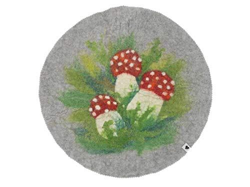 Sitzauflage Fliegenpilz, Glückspilz, feine Merinowolle, handgefilzt, 40 cm Durchmesser