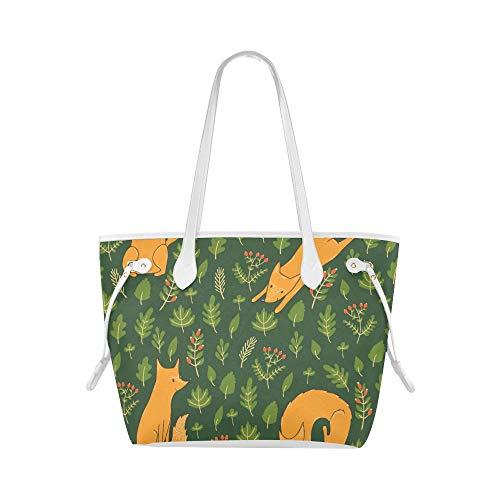 Casual Tote Bag Jumping Fox Animal Design Woman Travel Bag Casual Handbag Large Capacity Water Resistant With Durable Handle