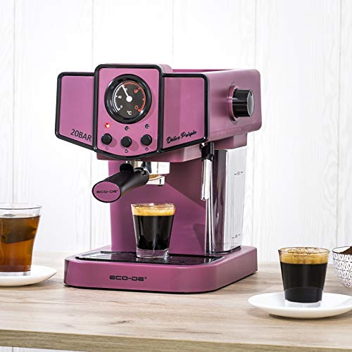 ECODE Cafetera Espresso Delice Purple, 20 Bares de Presión, Vaporizador Orientable, Depósito de 1.5 litros, Mono/Doble...