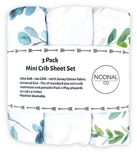 NODNAL CO. Leafy Pack n Play Playard Portable Mini Crib Fitted Sheets Set 3 Pack 100% Jersey Knit Cotton Pack and Play Baby Girl/Boy - Gender Neutral Leafs, Greenery, Floral Eucalyptus 160 GSM Sheets