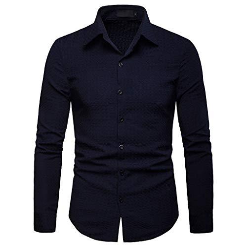 Yvelands Chemise Soldes Homme Couleur Unie Treillis Impression Revers Top Style d'affaires Manches Longues T-Shirt(Marin,Small)
