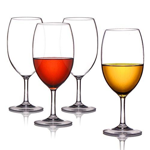 Copa de vino tinto transparente Indestructible reutilizable Tritan Plastic Copa resistente a caídas Copa de bebida, sustituto de vidrio, 4 paquetes