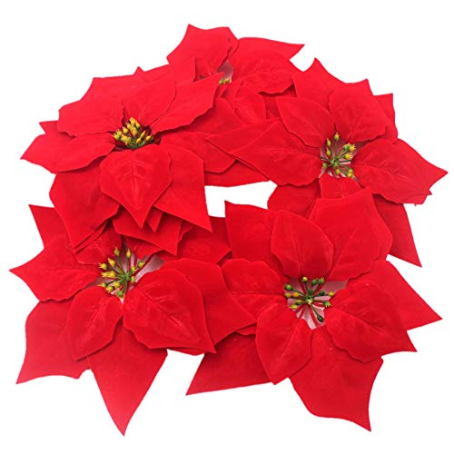 M2cbridge Artificial Christmas Flowers Red Velvet Poinsettia Floral Picks for Christmas Wreath Tree Ornaments(50pcs Red A)
